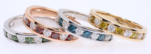 Diamond rings in all colors, set in white gold, rose gold, and yellow gold.
