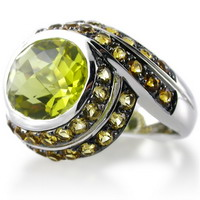 Gemstone ring with  lemon quartz and yellow citrine  in 18kt yellow gold.