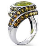 Gemstone rings, lemon quartz yellow citrine black rhodium plate, 18kt, white gold.