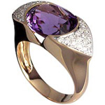 Gemstone rings, oval amethyst set with pave white diamonds, 18kt, rose gold.