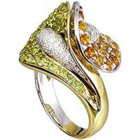 Topaz, Peridot and Diamond Ring in 18kt white and yellow gold.