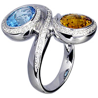 Unique Yellow Citrine, Blue Topaz and Diamond Ring in 18kt white gold.