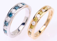 Unique white and blue diamond ring, white and yellow diamond ring, yellow gold, white gold.