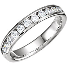 High quality diamonds channel set in white gold, unique.