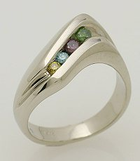 Colored diamond and white gold ring.