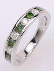 Green and white, diamond ring, channel set, white gold.