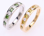 Unique rings, white and yellow diamond ring, green and white diamond ring,white gold.