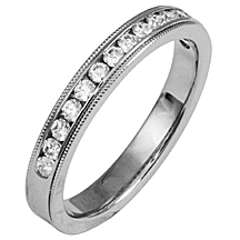 Diamond ring channel set with a unique mill grain edge, white gold.