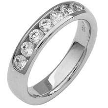 Diamond ring, high quality diamonds channel with a closed end,set in white gold.