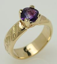 Amethyst and 14k yellow gold ring.