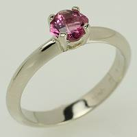 Gemstone ring, checkerboard cut cushion pink tourmaline in white gold ring.