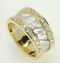 Diamond pave, 18kt gold and platinum ring.