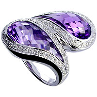 Fabulous  Blue amethyst checkerboard cut  and Diamond Ring in 18kt white gold.