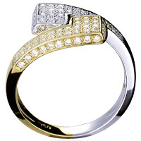 Unique, linear, contemporary 18 kt gold and diamond ring.