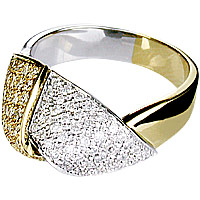 A unique and contemporanry 18 kt White & Yellow Gold and Diamond Ring