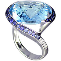 Blue Sapphire and Blue Topaz and Diamond Ring