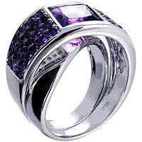 Unique fancy square cut Amethyst Ring in 18 kt White Gold