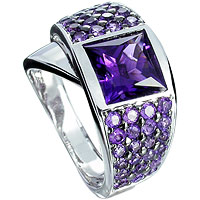 Colored gemstone jewelry ring in 14k white gold unique amethyst square cut.