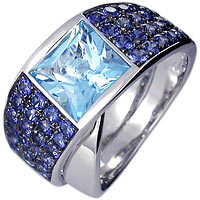 Unique fancy cut square Blue Topaz with Blue Sapphire accents in 18kt white gold  Ring