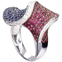 Ruby, Sapphire and Diamond Ring