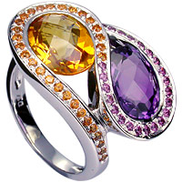 Gemstone ring with amethyst, citrine and garnet  in 18kt white gold.