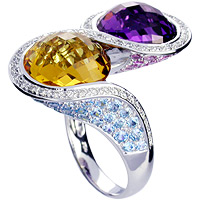 Amethyst, Yellow Citrine, Pink Sapphire, Blue Topaz and Diamond Ring