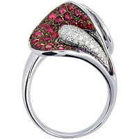 Unique Ruby,  Black Diamond and white Diamond Ring 18kt white gold.
