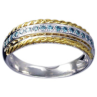 White and Yellow 18kt Gold Blue Diamond Ring