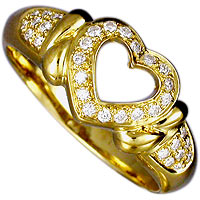 Heart Shaped Gold and Diamond Promise Ring