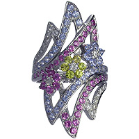 Pink Sapphire, Yellow Sapphire and Blue Topaz Diamond Ring