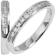 Diamond ring, quality diamonds channel set in a unique faceted ridge ring, white gold, unique.