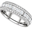 Eternity bands, white gold, princess diamonds and round cut diamonds.
