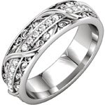 Eternity ring, white gold, platinum, scroll and leaf design.