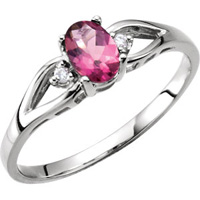 Stylish pink tourmaline with diamond accents contemporary look