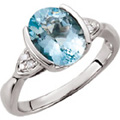 Gemstone rings, bezel set oval aquamarine, diamond accents, 14kt, white gold.