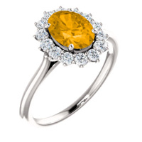 Gemstone ring unique golden citrene with a diamond halo in 14kt white gold.