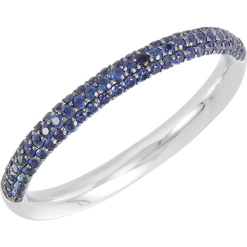 Blue sapphire anniversary band in 14kt white gold.
