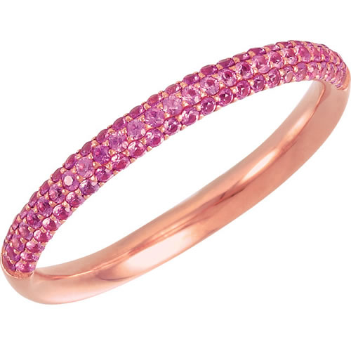 Pretty pink sapphire anniversary band in 14kt white gold.