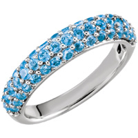 Gemstone ring unique blue topaz anniversary band in 14kt white gold.