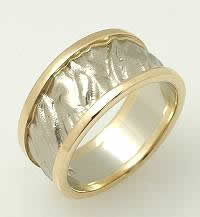 Wedding bands with two colored white gold and yellow gold sandblasted high relief