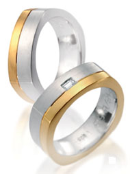 Wedding bands, white and yellow gold satin finish square shape, diamond accents.