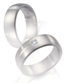 Wedding ring, white gold, soft dome satin finish diamond accent, engraved line.