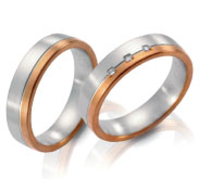 Unique wedding rings, white gold, rose gold, satin finish diamond accents.