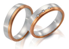 Wedding bands, white gold, rose gold, satin finish diamond accents.