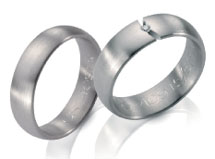 Wedding bands, white gold, satin finish slight domed top, diamond accents.