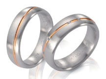 Unique wedding rings satin finiah, white gold, rose gold inlay diamond accents.