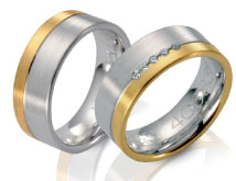 Unique wedding rings,white gold and yellow gold, flat top satin finish engraved line diamond accents.