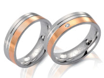 Wedding bands, rose gpold white gold, satin finish diamond accents.