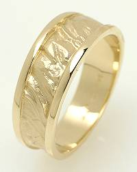 Unique wedding bands, yellow gold sandswept high relief with high polish borders